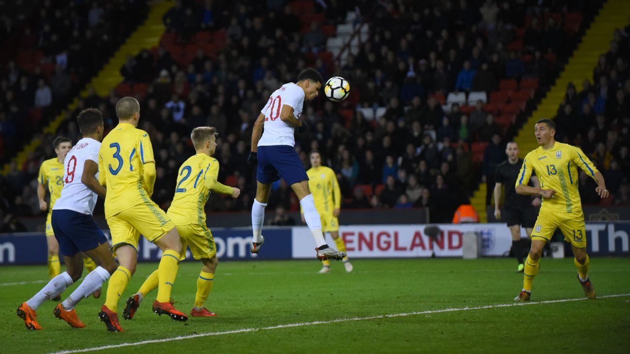 Dominic Solanke heads in the winner for England's Under-21 team in a win against Ukraine.
