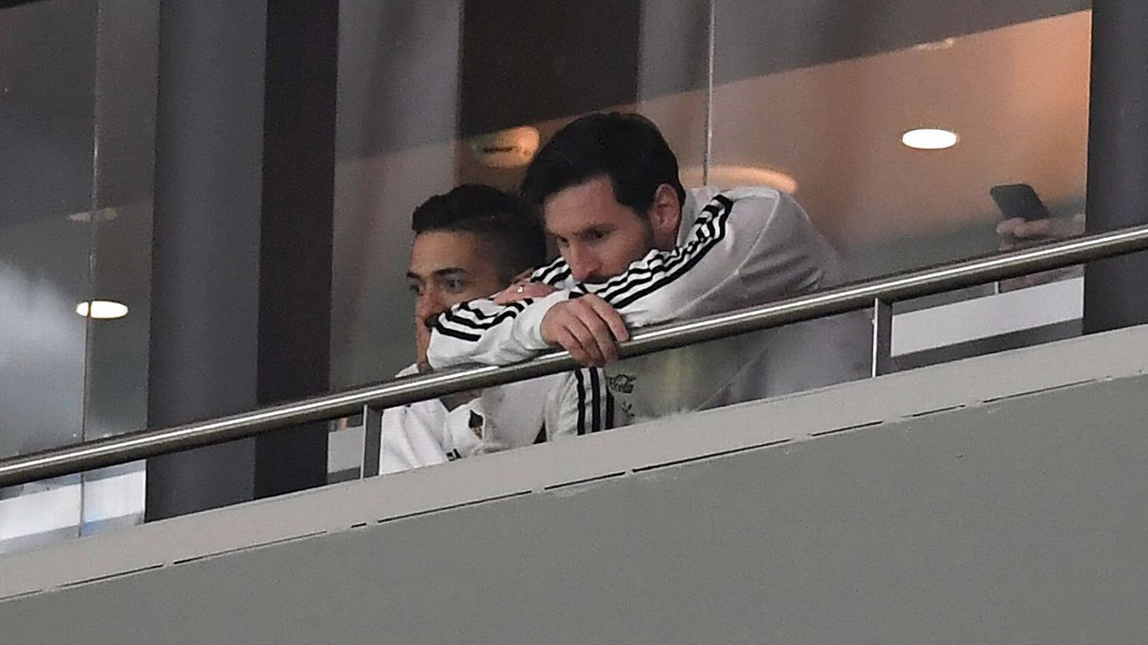 Lionel Messi watches Argentina's defeat to Spain at Madrid's Wanda Metropolitano