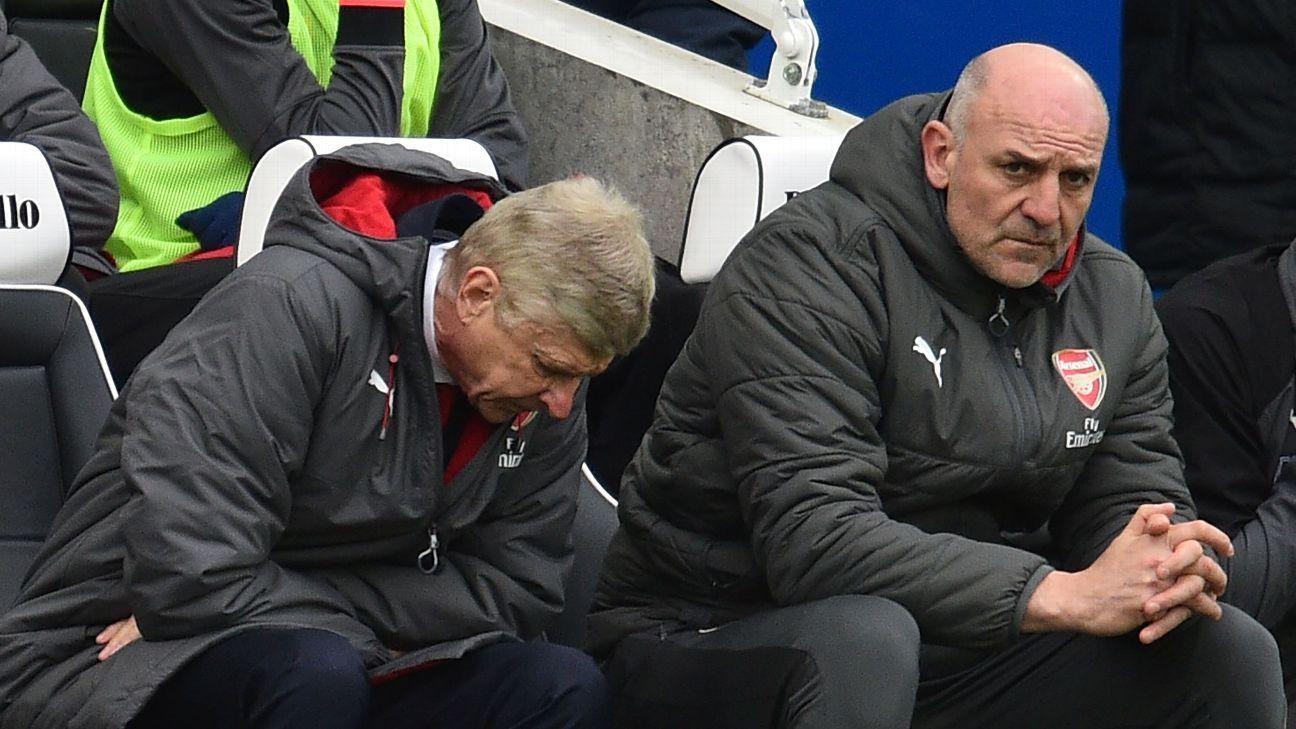 Former Arsenal manager Arsene Wenger, left, with assistant Steve Bould.