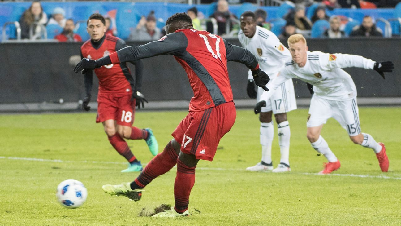 Jozy Altidore converts a penalty for Toronto FC in a match against Real Salt Lake.