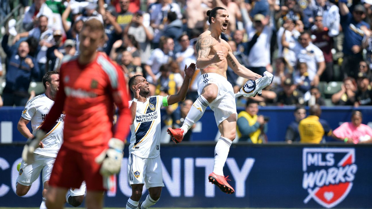 Zlatan Ibrahimovic scores two stunning goals in MLS debut with LA Galaxy