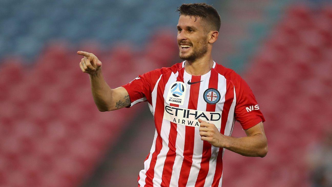Dario Vidosic celebrates one of his two goals.