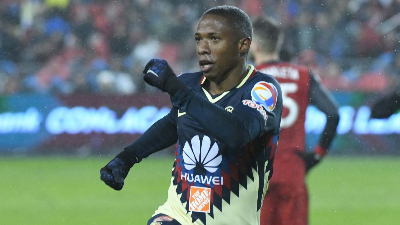Andres Ibarguen celebrates after scoring a goal for Club America in the CONCACAF Champions League.