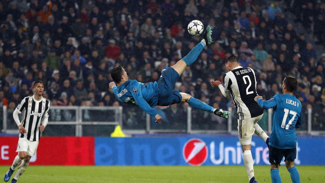 TURIN, ITALY - APRIL 03:  Cristiano Ronaldo of Real Madrid scores his team's second goal during the UEFA Champions League Quarter Final Leg One match between Juventus and Real Madrid at Juventus Stadium on April 3, 2018 in Turin, Italy.