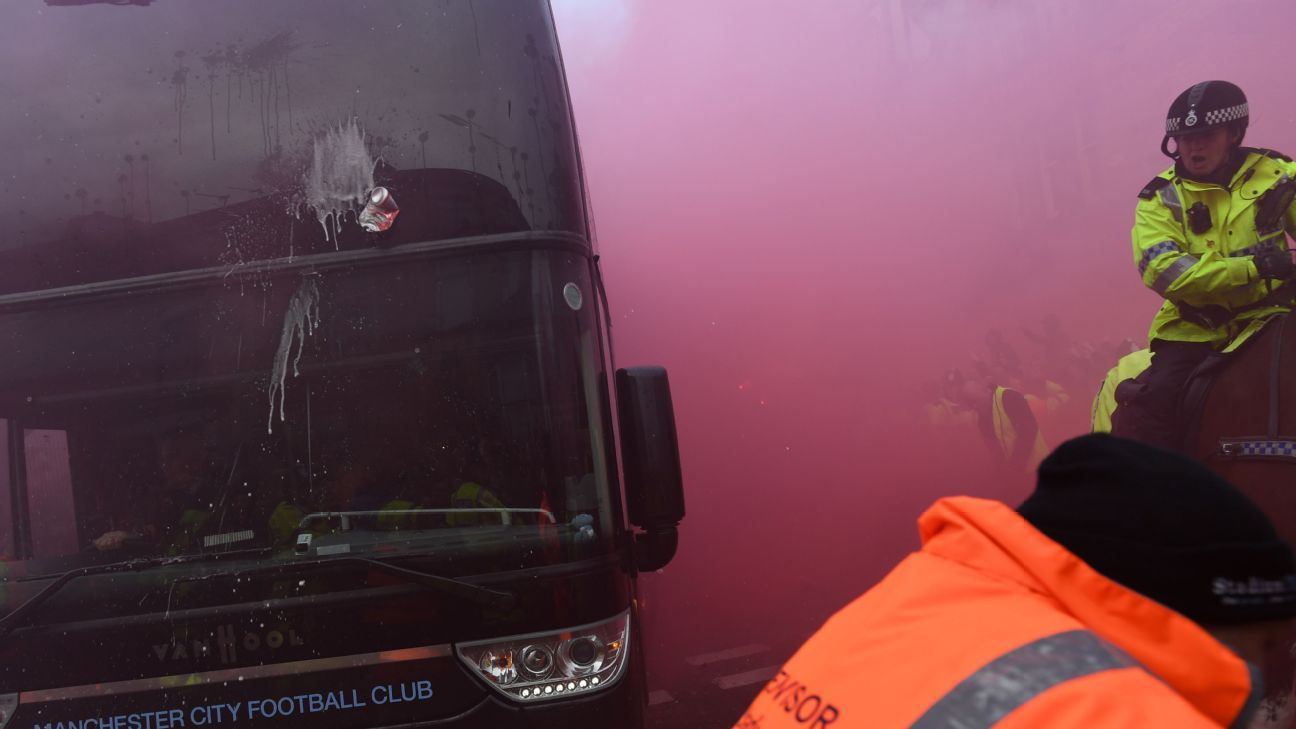 Man City's coach bus was damaged by Liverpool supporters on its way to Anfield.
