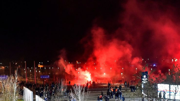 Flares were set off before the Europa League game between Lyon and CSKA Moscow on March 15, 2018.