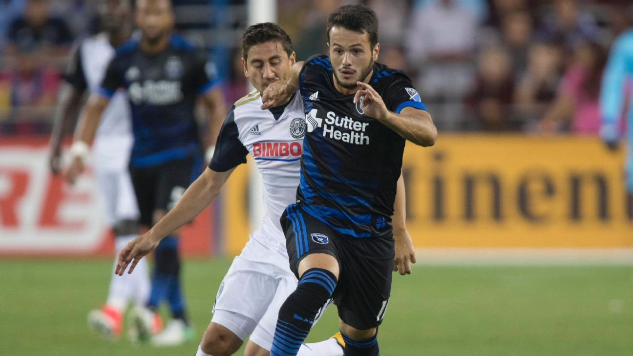 Vako, right, and Alejandro Bedoya vie for the ball in a 2017 regular-season match.