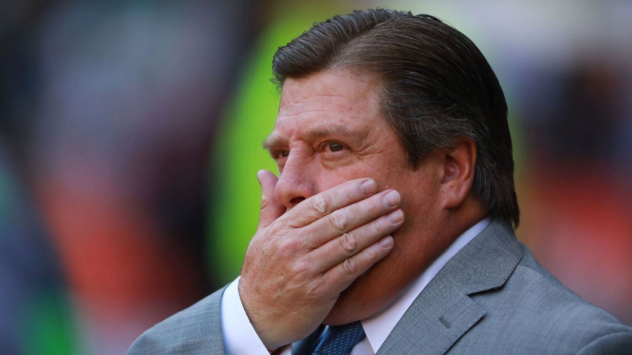 Miguel Herrera looks on during Club America's Liga MX match against Pachuca.