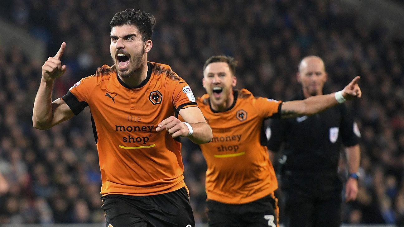 Ruben Neves celebrates after scoring a goal for Wolves in a 1-0 Championship defeat of Cardiff City.