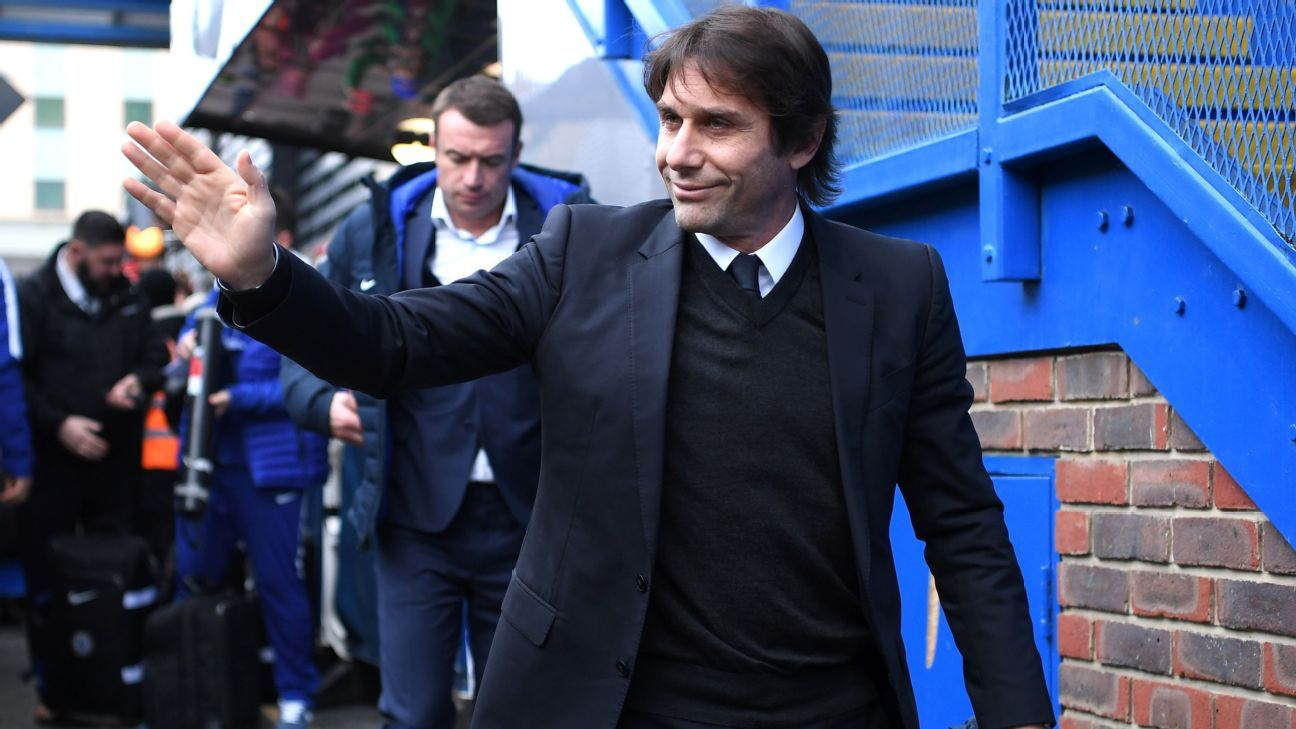 Antonio Conte arrives at Stamford Bridge.