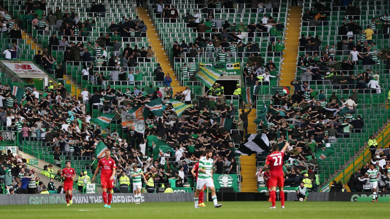 The safe standing area at Celtic Park
