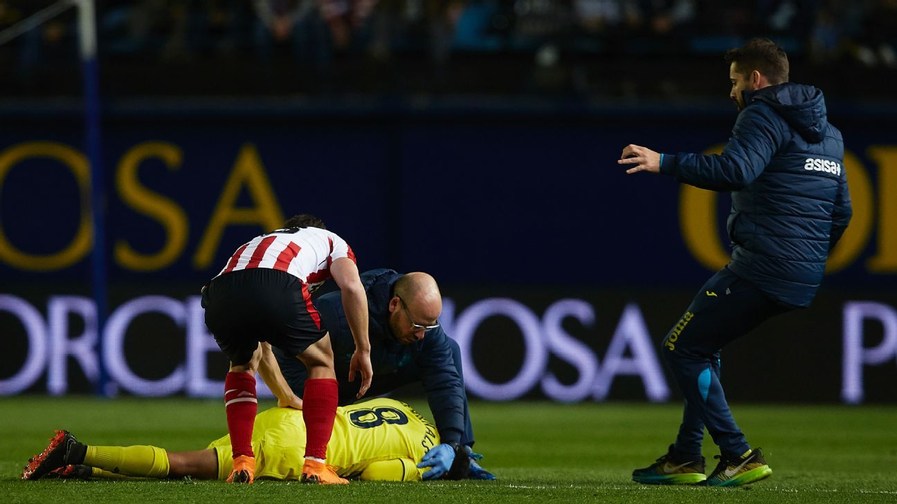 Villarreal's Pablo Fornals lays on the pitch.