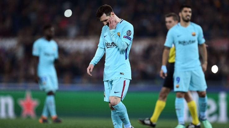 Barcelona crashed out of the Champions League against Roma.