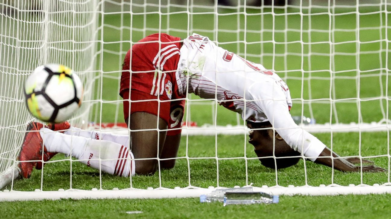 Kemar Lawrence reacts after nearly missing a chance to score a goal for the New York Red Bulls.