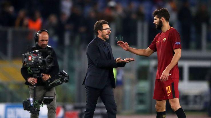 Roma manager Eusebio Di Francesco with Federico Fazio after the final whistle