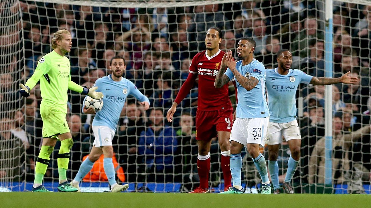 Manchester City players appeal to referee after Leroy Sane's goal vs Liverpool is disallowed