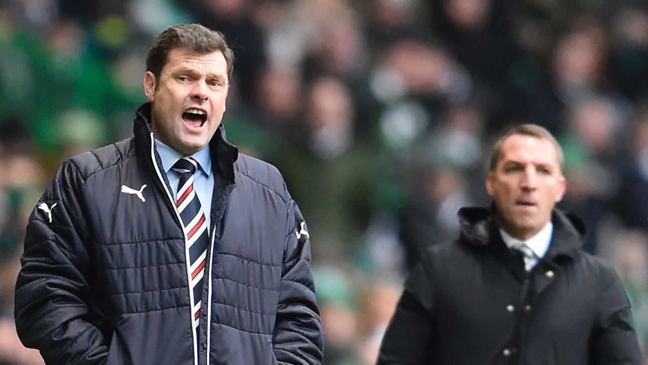 Rangers manager Graeme Murty, left, and Celtic manager Brendan Rodgers.