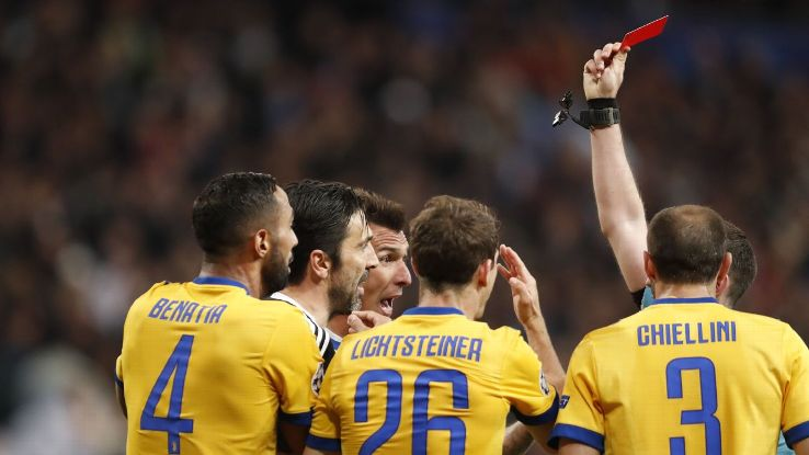 Gianluigi Buffon's Champions League career ended with a red card.