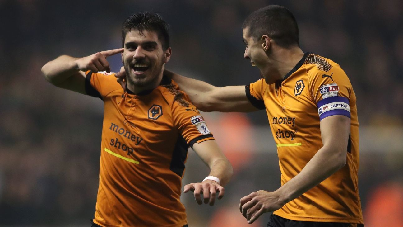 Wolverhampton Wanderers' Ruben Neves, left, and Conor Coady.