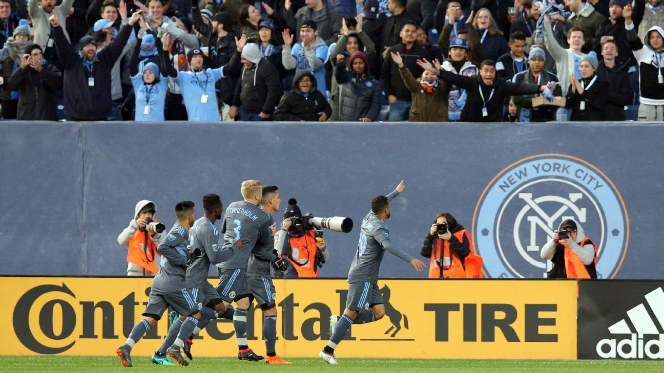New York City FC players celebrate after opening the scoring against Real Salt Lake.