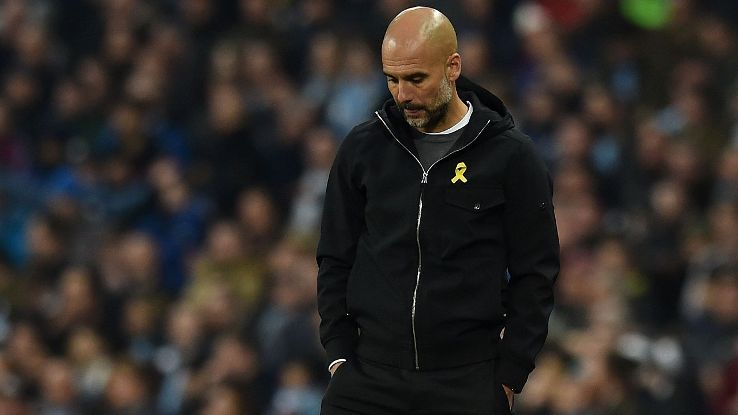 Pep Guardiola reacts during Manchester City's Champions League to Liverpool at the Etihad Stadium
