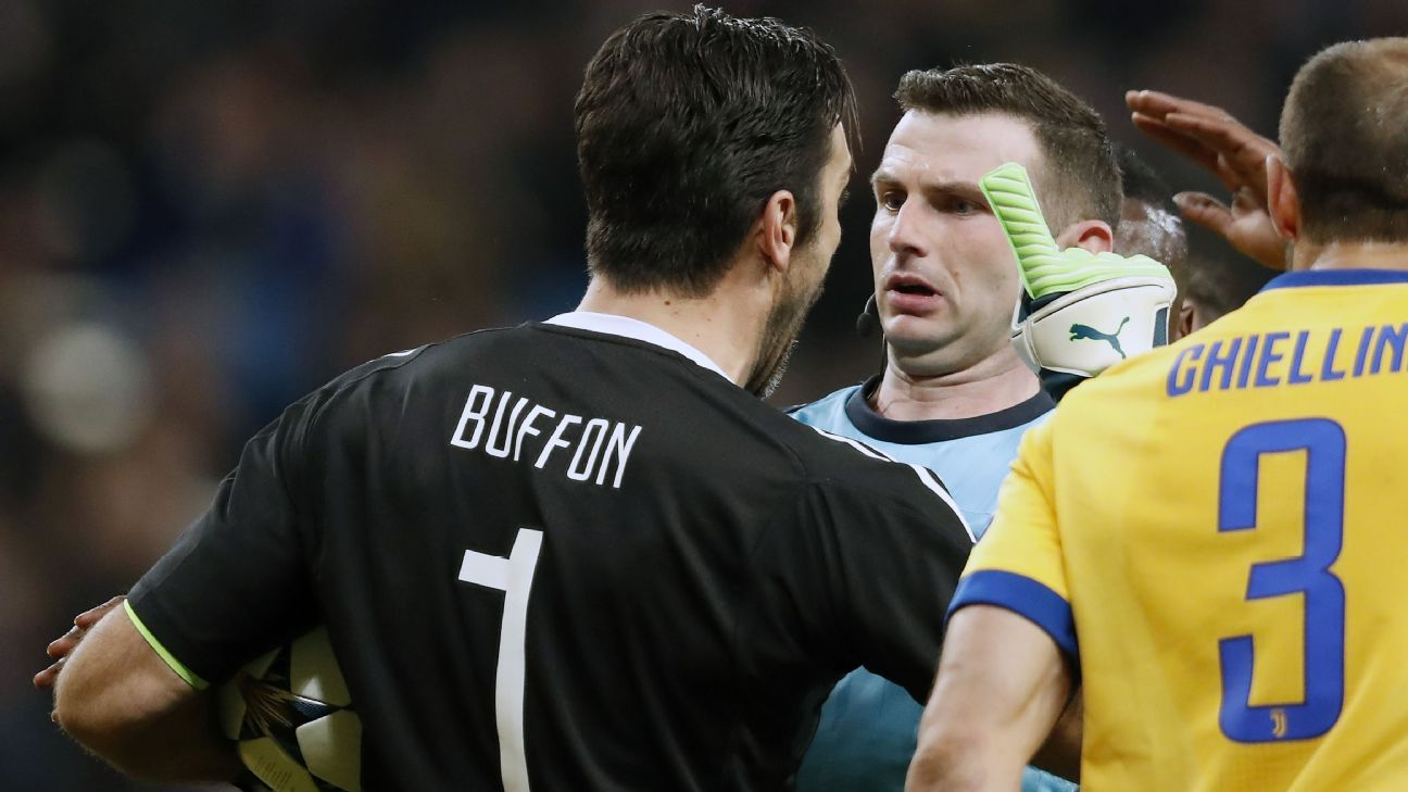 Juventus goalkeeper Gianluigi Buffon was sent off after confronting referee Michael Oliver