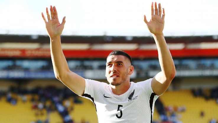 Michael Boxall acknowledges the crowd during New Zealand's World Cup qualifying playoff vs. Peru.