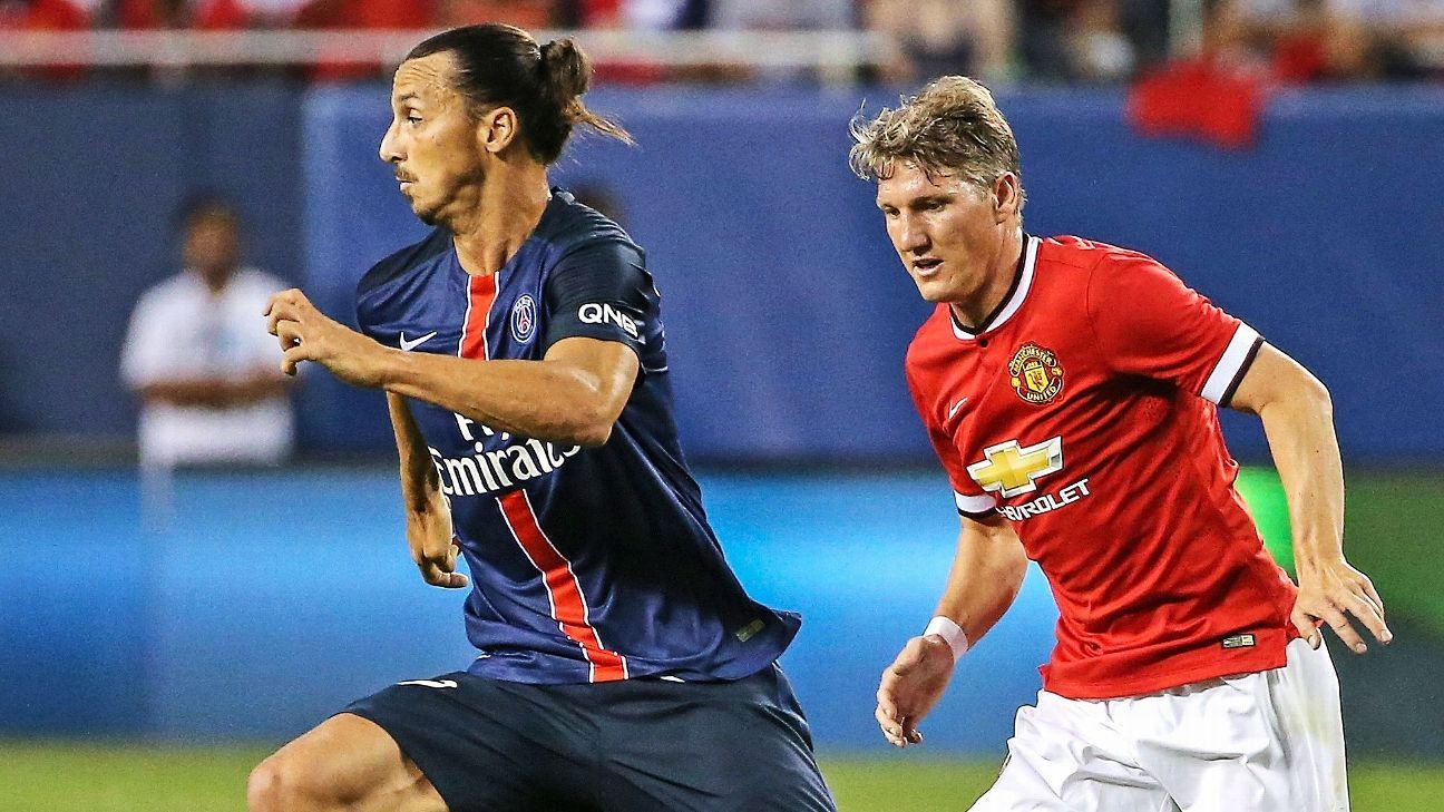 Zlatan Ibrahimovic and Bastian Schweinsteiger vie for the ball during the International Champions Cup.