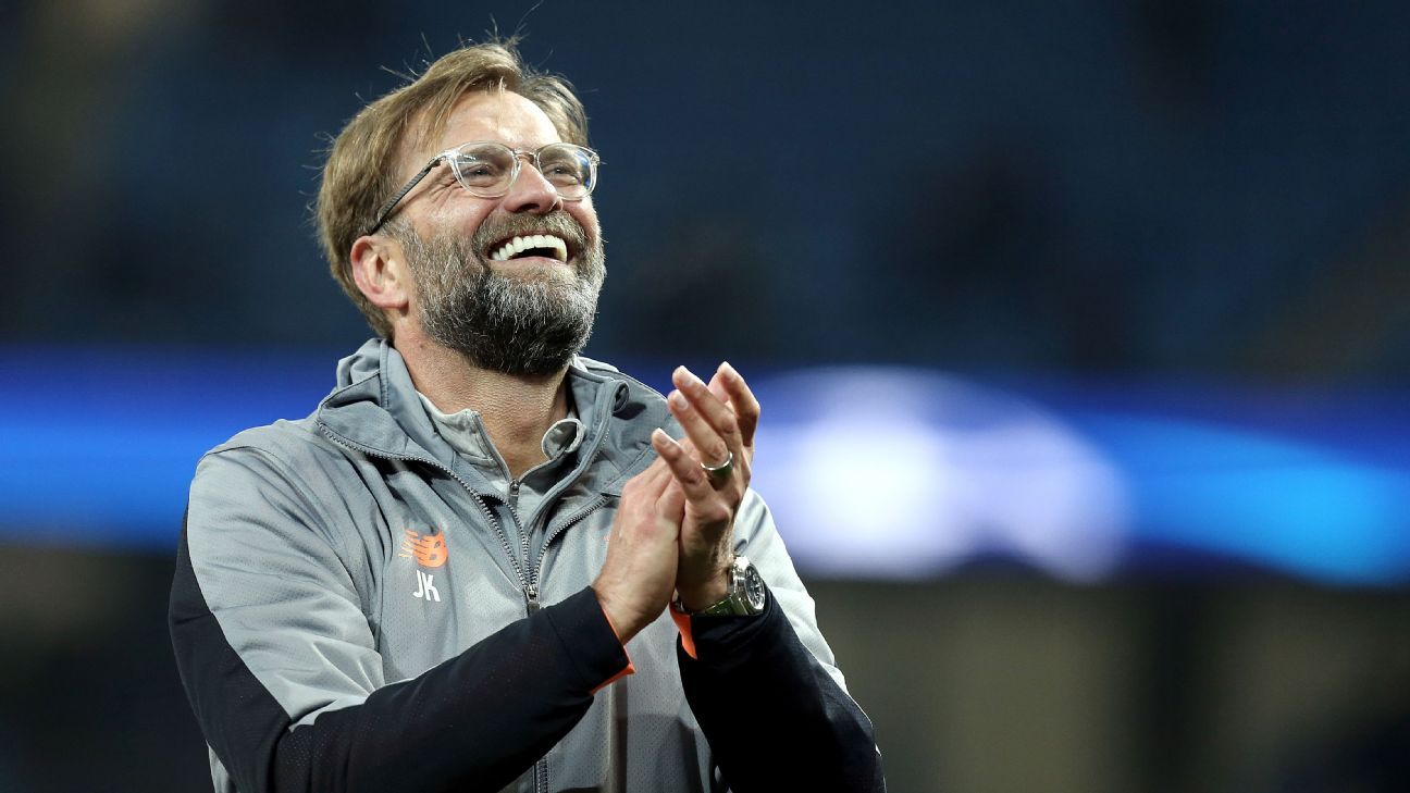 Liverpool manager Jurgen Klopp celebrates beating Manchester City to reach Champions League semifinals