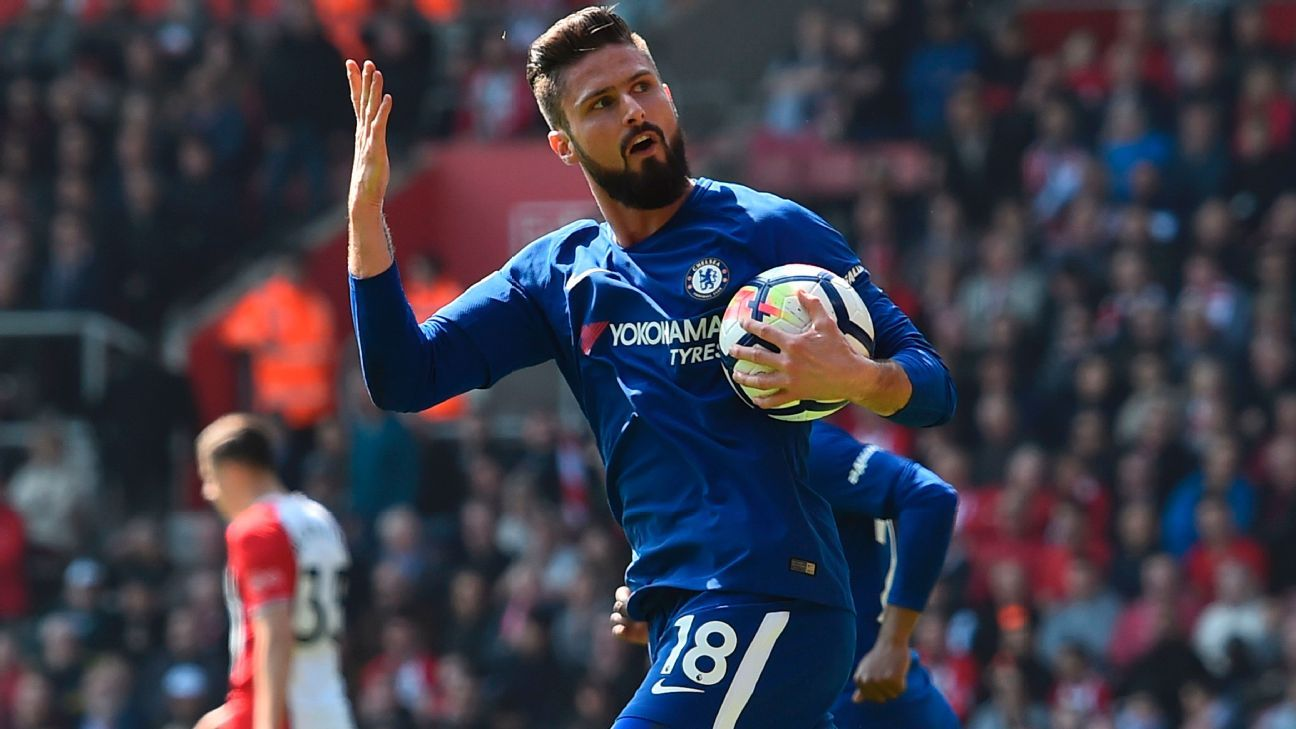 Olivier Giroud was the Chelsea hero in their comeback victory at Southampton.