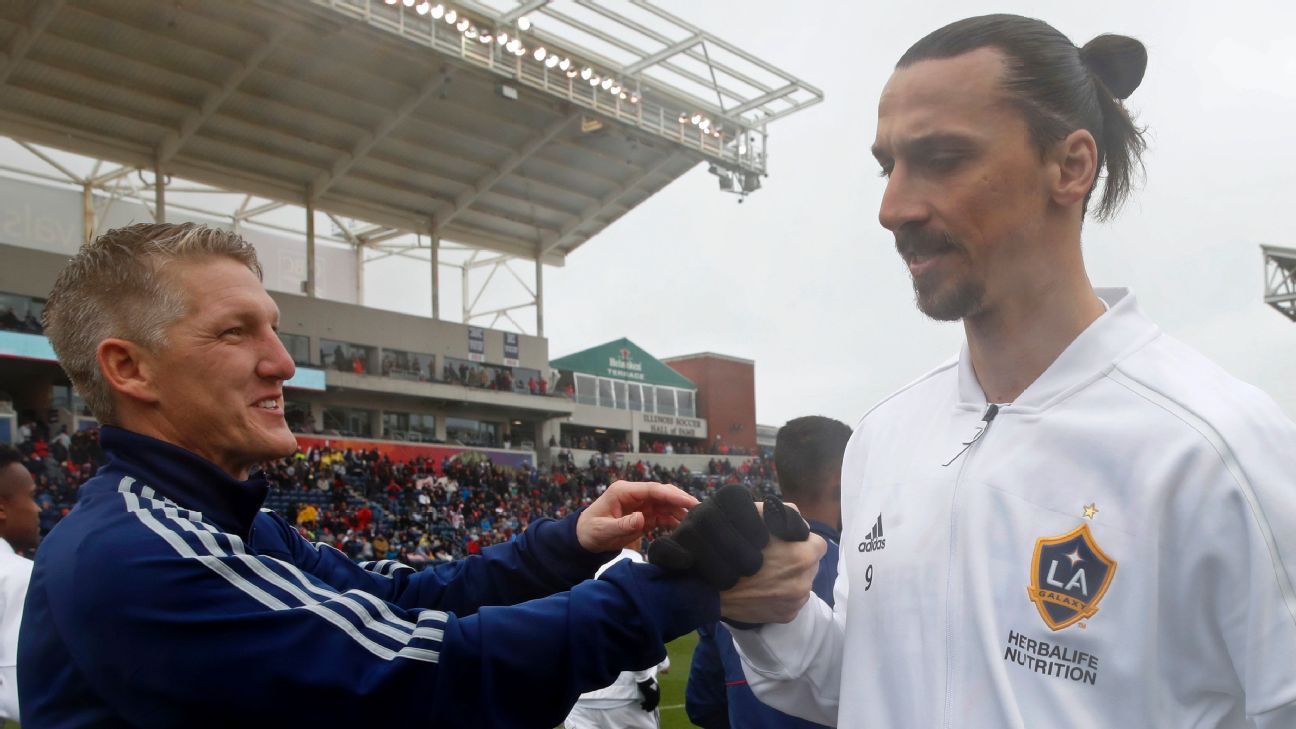 Bastian Schweinsteiger and Zlatan Ibrahimovic shake hands ahead of the MLS match between the Chicago Fire and LA Galaxy.