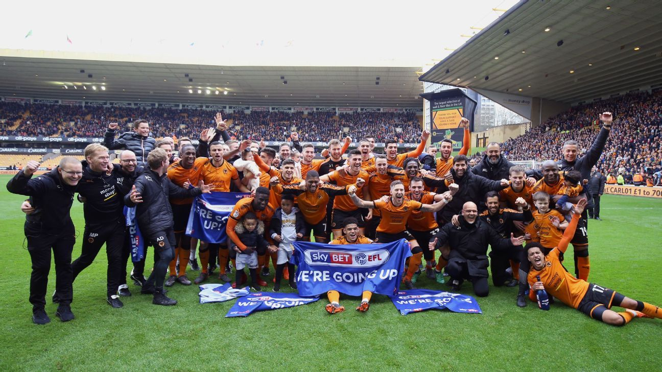 Wolves celebrate promotion to Premier League after win over Birmingham