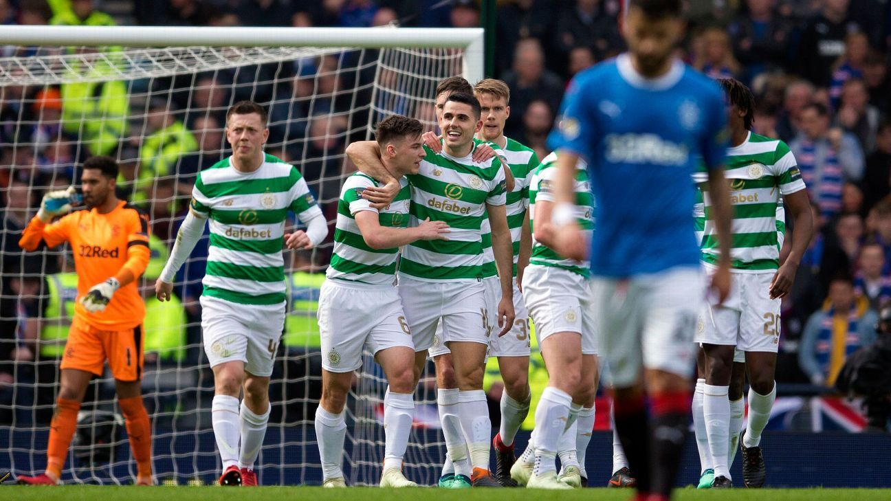 Celtic celebrate Tom Rogic's goal against Rangers