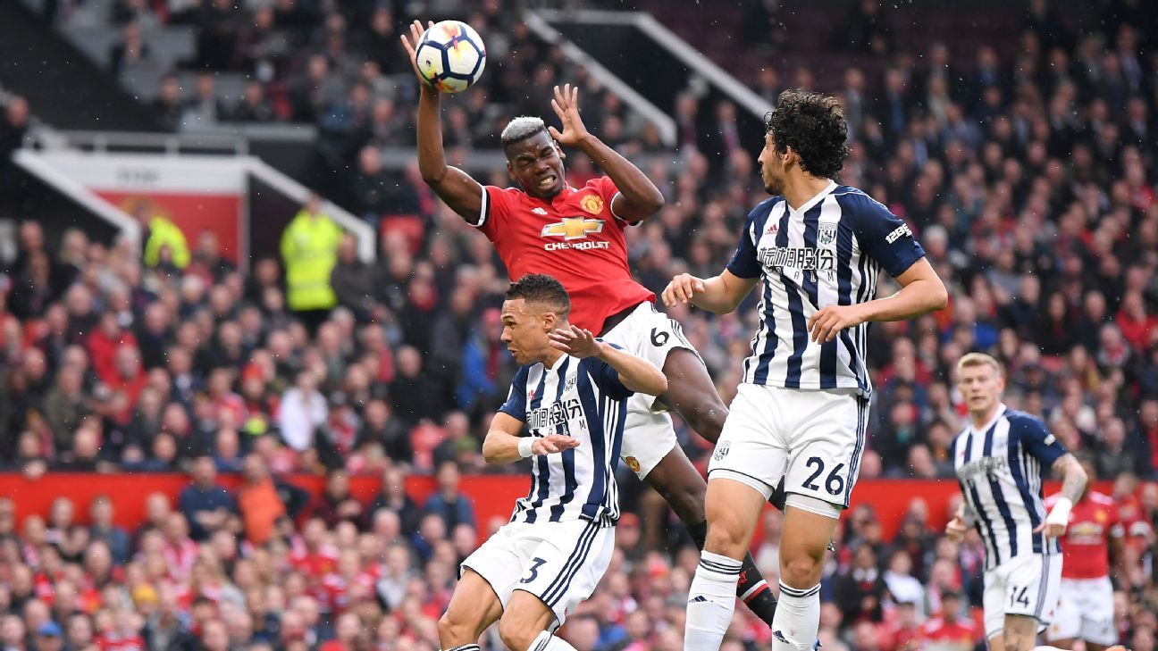 Manchester United's Paul Pogba handballs against West Brom