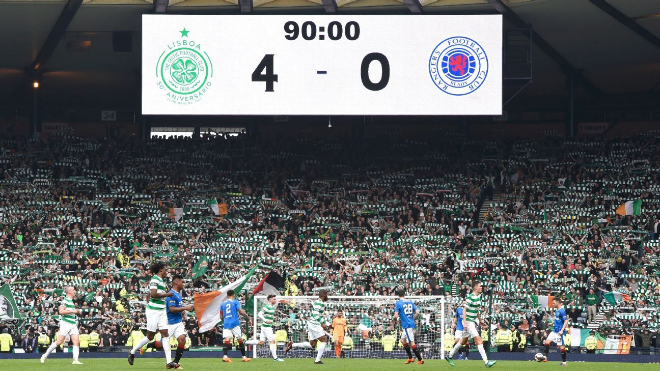 Hampden Park scoreboard during Celtic vs Rangers
