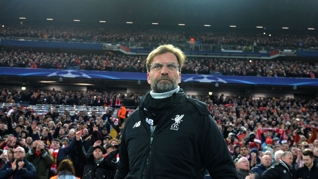 Jurgen Klopp looks on at Anfield ahead of the Champions League match against Manchester City