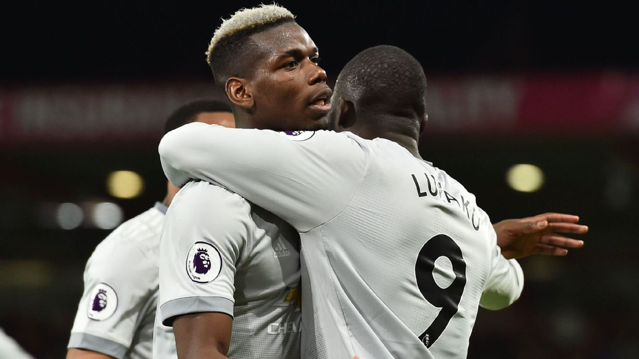 Paul Pogba, left, impressed for Manchester United and set up Romelu Lukaku's goal.