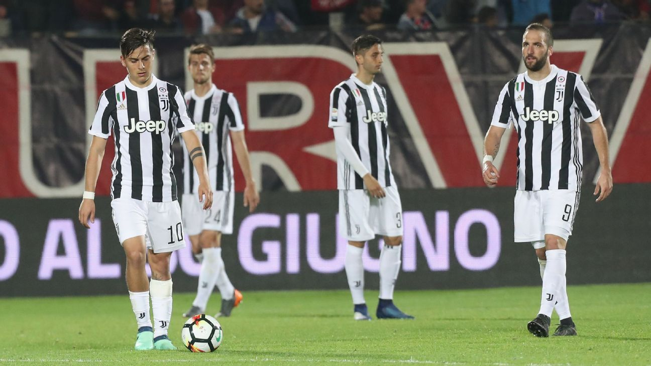 Juventus are crestfallen after conceding the equaliser.