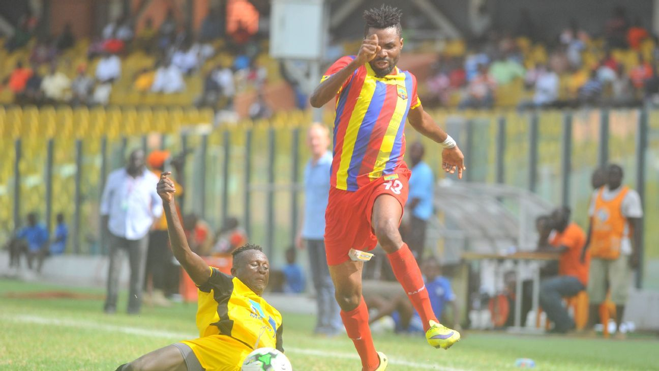 Elliot Apotey of Sporting Mirren FC, Kwame Kizito of Accra Hearts of Oak
