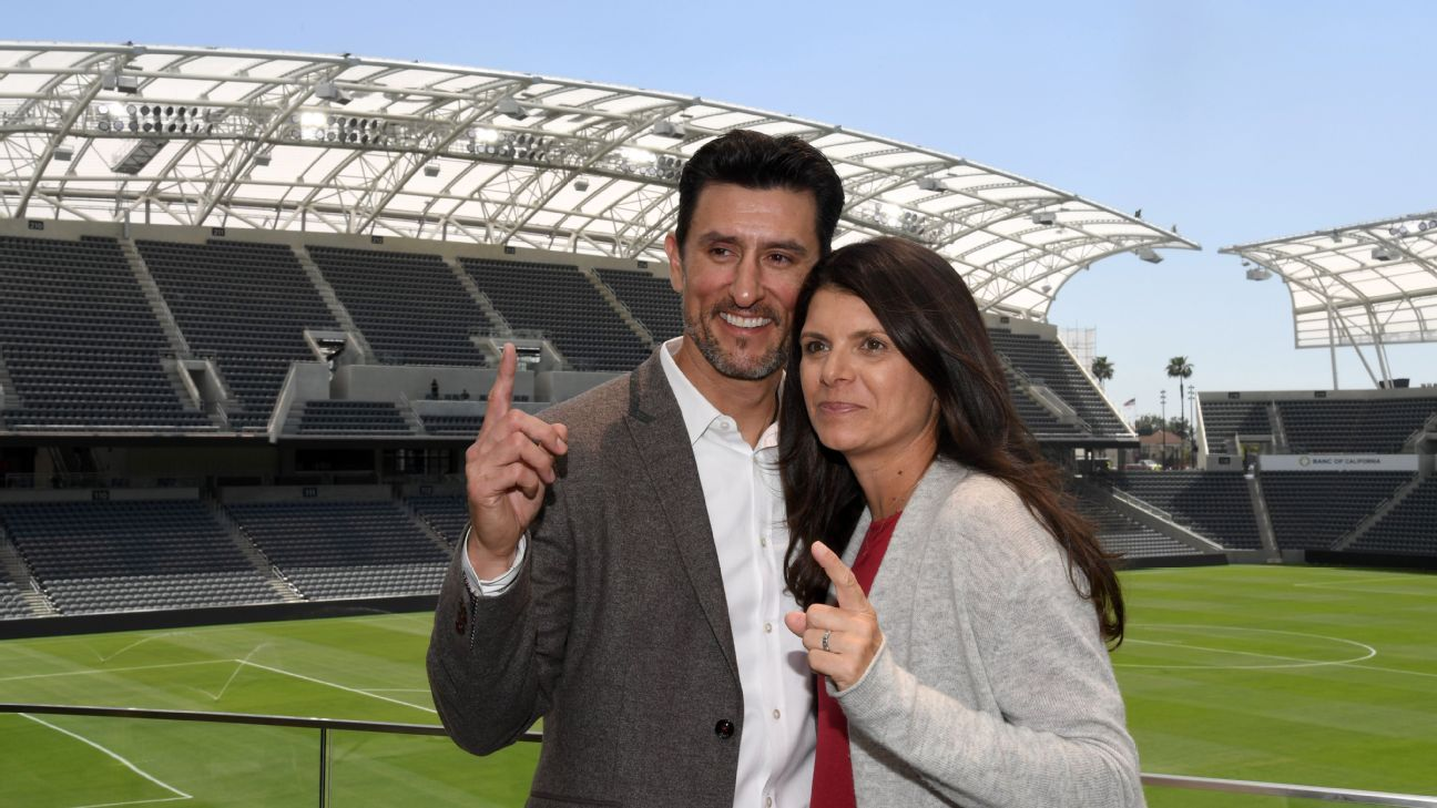 Nomar Garciaparra, left, and Mia Hamm attend the ribbon-cutting ceremony for LAFC's new stadium.