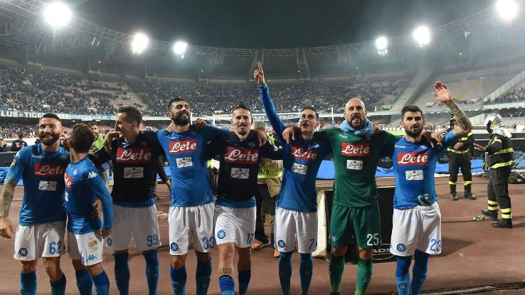 Napoli celebrate their come-from-behind win against Udinese.