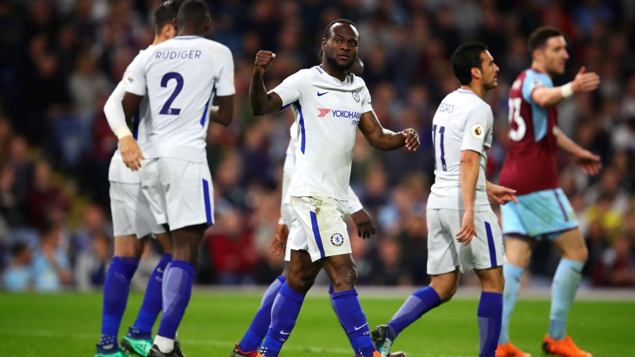 Victor Moses was directly involved in both of Chelsea's goals vs. Burnley.