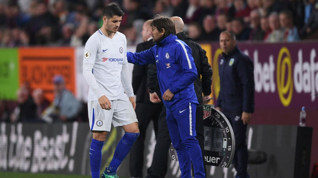 Alvaro Morata was substituted off during Chelsea's 2-1 win at Burnley