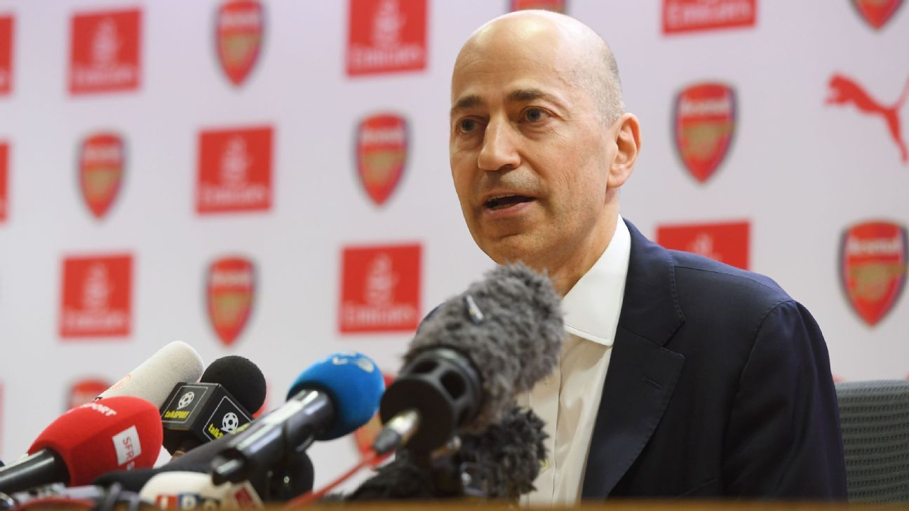 Ivan Gazidis faces the media after Arsene Wenger's exit announcement.