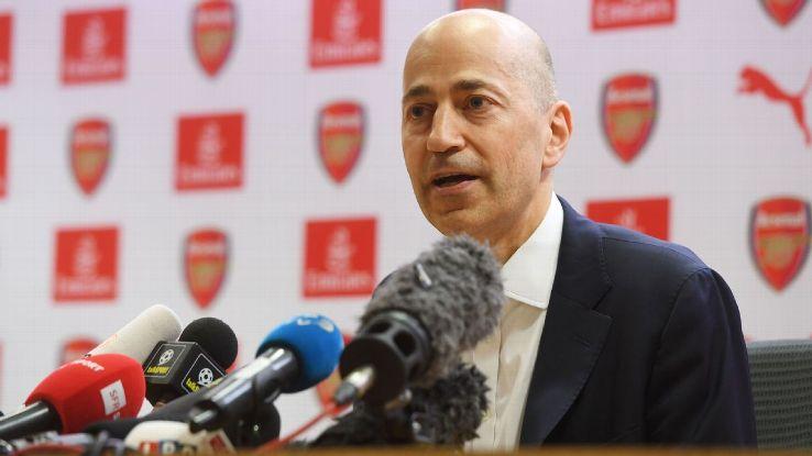 Ivan Gazidis faces the media after Arsene Wenger's exit announcement.
