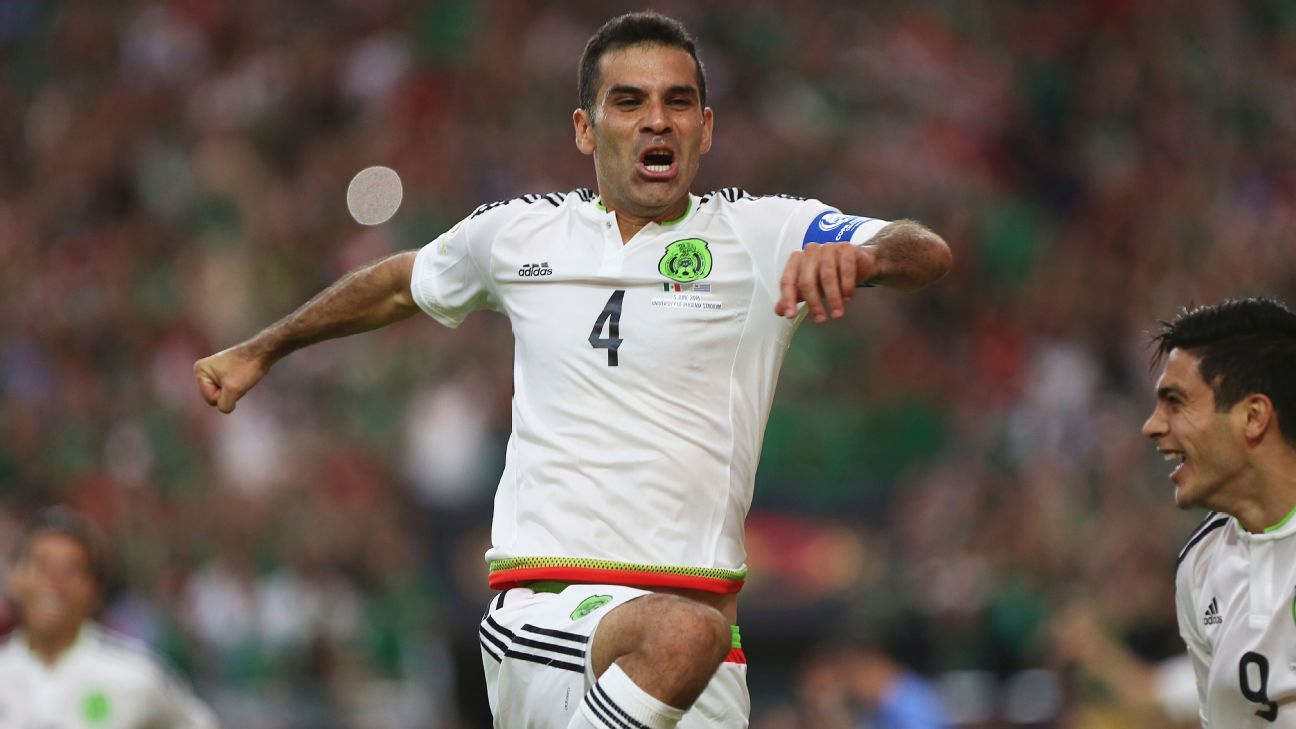 Rafa Marquez celebrates scoring in Mexico's Copa America match against Uruguay.