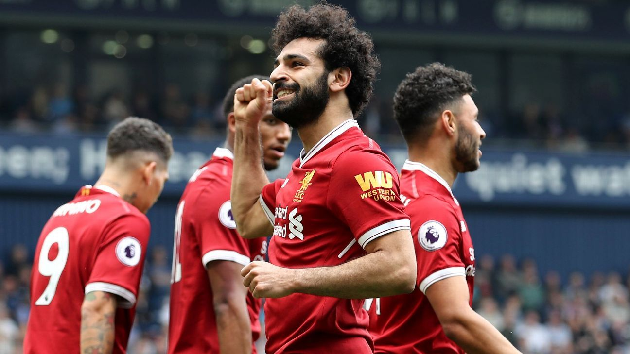 Mohamed Salah celebrates after scoring Liverpool's second goal in their Premier League game against WBA.