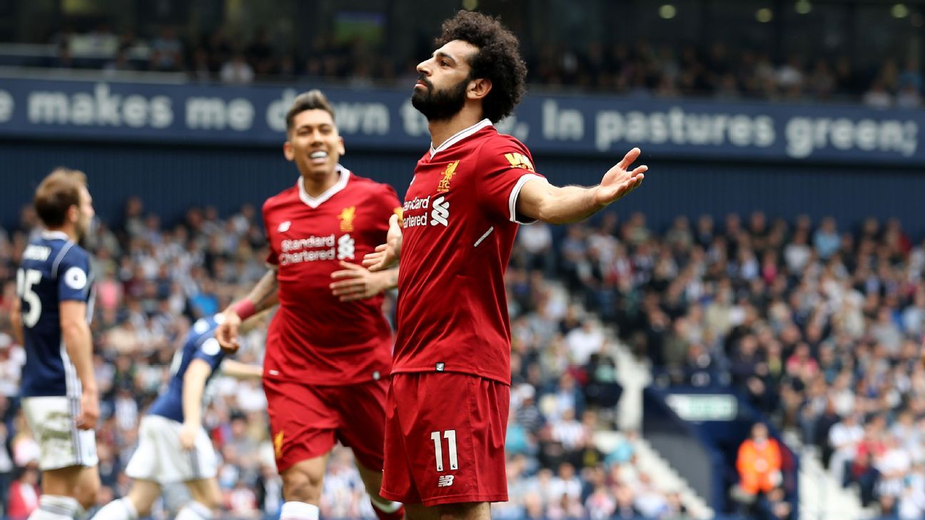 Mohamed Salah celebrates after scoring for Liverpool in their Premier League game against West Brom.