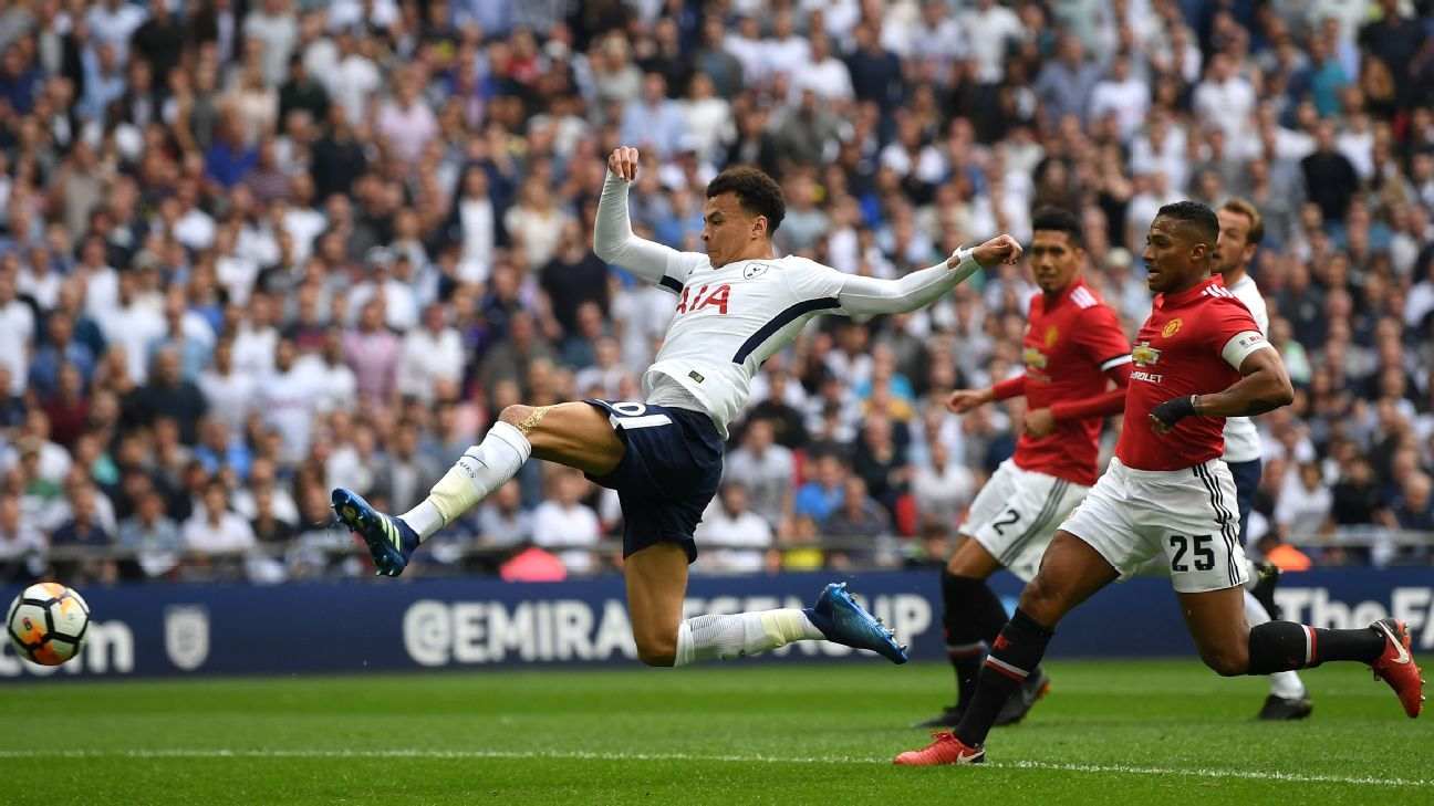 Dele Alli scores for Tottenham in their FA Cup semifinal against Manchester United.