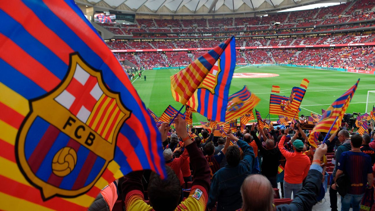 Barcelona fans get ready to support their team against Sevilla in the Copa del Rey.